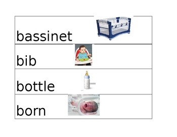 Babies Vocabulary for Pre K Unit of Study