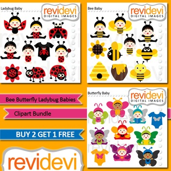 Babies in ladybug, bee, butterfly costumes (3 packs)