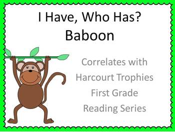 "Baboon ""I HAVE, WHO HAS?"" Sight Word Practice for Harcourt Trophies"