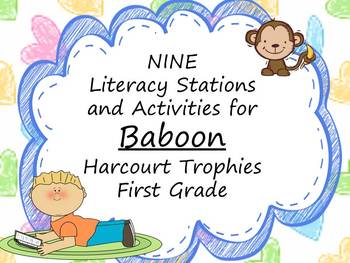 Baboon Literacy Stations for Harcourt Trophies First Grade