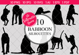 Baboon Silhouettes Clipart Clip Art (AI, EPS, SVGs, JPGs, PNGs, PDF)