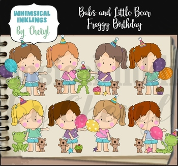 Babs and Little Bear Froggy Birthday Clipart Collection
