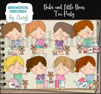 Babs and Little Bear Tea Party Clipart Collection