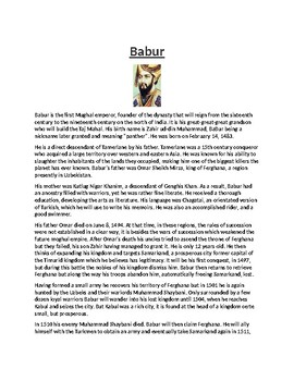 Babur Biography Article and Assignment