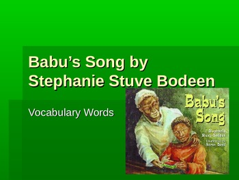 Babu's Song Vocabulary Powerpoint