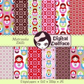 Digital Paper -Babushka / Matryoshka Doll