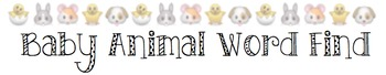 Baby Animal Word Find
