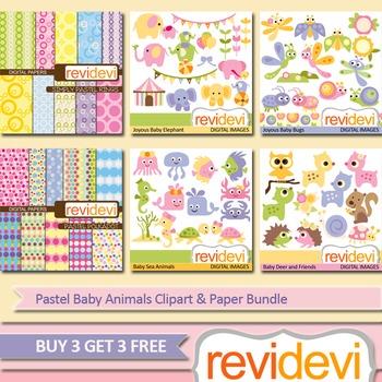 Baby Animals Clip arts (6 packs) elephants, bugs, deers, sea animals