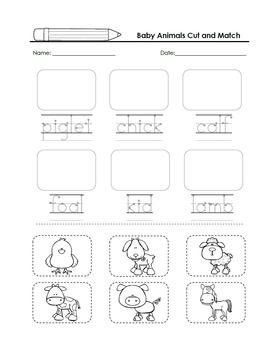 Baby Animals Math and Literacy Fun - Kindergarten