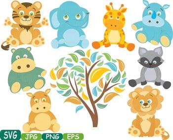 Baby Animals Safari clip art jungle zoo woodland animal wo