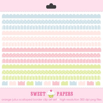 Baby Baby Scalloped Borders Digital Clip Art Set - by Swee