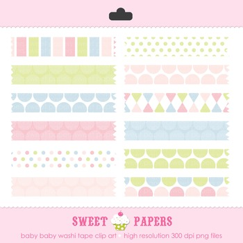 Baby Baby Washi Tape Digital Clip Art Set - by Sweet Papers