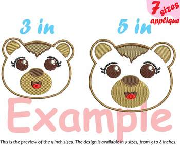 Baby Bear Applique Designs for Embroidery outline woodland animals kawaii 14a