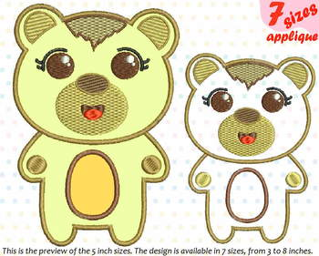 Baby Bear Applique Designs for Embroidery outline woodland animals kawaii 16a