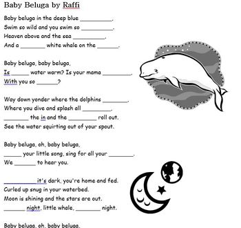 Baby Beluga by Raffi  - Song Cloze, Fill in the Blank activity