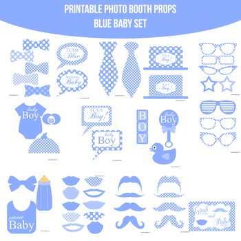 Baby Blue 1 Printable Photo Booth Prop Set