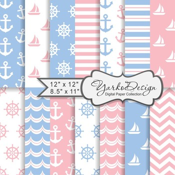 Baby Blue And Pink Nautical Digital Paper Pack, Geometric, 14 Sheets