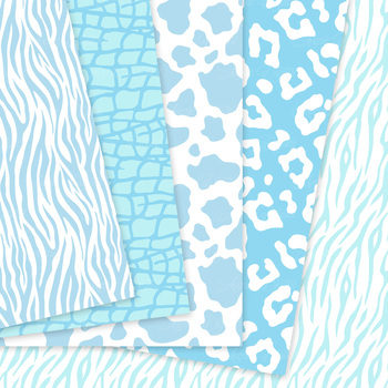 Baby Blue Animal Prints Digital Paper safari scrapbook backgrounds zebra leopard