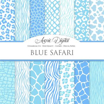 Baby Blue Animal Prints Digital Paper safari scrapbook bac