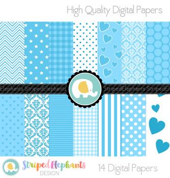 Baby Blue Digital Papers