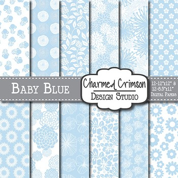Baby Blue Floral Digital Paper 1388