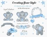 Baby Blue Gray Elephant Clipart collection 1da