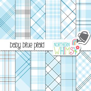 Baby Blue Plaid Digital Paper