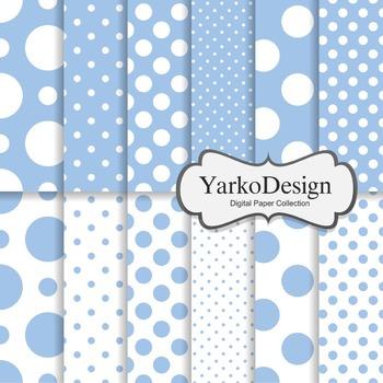 Baby Blue Polka Dot Digital Scrapbooking Paper Set, 12 Digital Paper Sheets