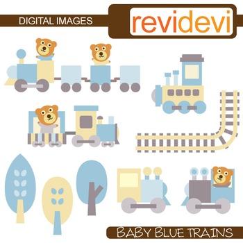 Baby Blue Trains Clip Art