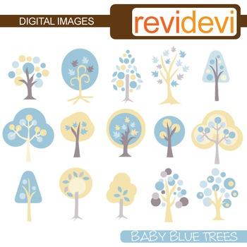 Baby Blue Trees Clip art