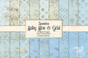 Baby Blue and Gold digital paper, seamless gold foil patterns