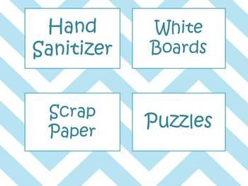 Baby Blue chevron Classroom Labels