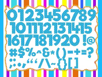 Baby Blue clip art set (100 images of Alphabet, Numbers and Symbols) Polka Dots
