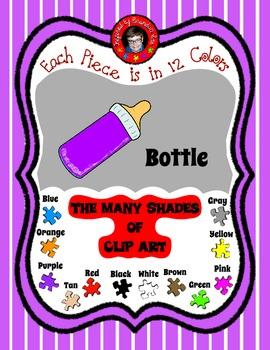 Baby Bottle Clip Art ~ 12 Colors ~ Make a Game with the Matching Baby Clipart