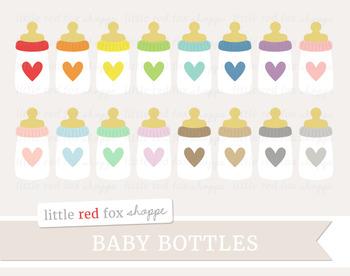 Baby Bottle Clipart; Nursery, New Baby, Milk, Formula