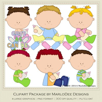 Baby Bottle Tots Children Clip Art Set 1