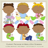 Baby Bottle Tots Children Clip Art Set 2 African American Babies