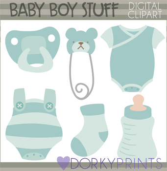 74d902b5f Baby Boy Clip Art - Baby Clothes and Socks by Dorky Doodles | TpT