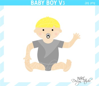 Blonde baby boy clipart commercial use