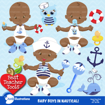 Baby Boy Clipart, African American Clipart, Baby Boy Clip Art, AMB-975