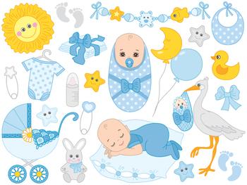 Baby Boy Clipart - Digital Vector Baby Boy, Newborn