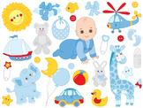 Baby Boy Clipart - Digital Vector Baby Boy, Newborn Clip Art