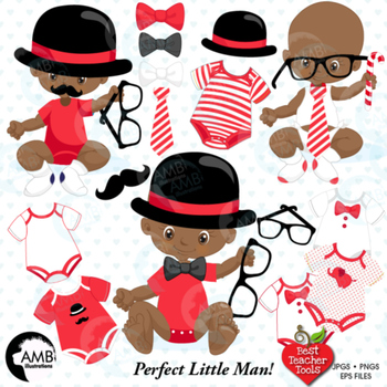 Baby Boy Clipart, Nursery Clipart, Baby Clip Art, African American, AMB-1291