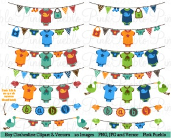 Baby Boy Clothesline Clip Art - Commercial and Personal Use