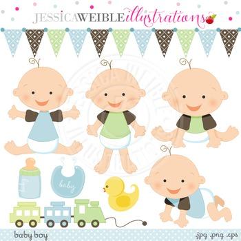 Baby Boy Cute Digital Clipart, Baby Boy Clip Art, Baby Boy