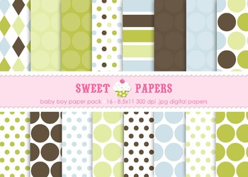 Baby Boy Digital Paper Pack - by Sweet Papers