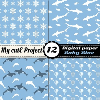 Baby Boy Digital paper - fish, hot air balloon, snowflakes, cloud, butterfly...