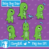 Baby Boy Dino Digital Illustration Clipart, B&W images included!