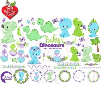 Baby Boy Dinosaur Clipart, Baby Dinosaur Clipart, Dino Clipart, AMB-2418