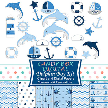 Baby Boy Dolphin Nautical Clip Art and Digital Paper Kit, Great for Showers